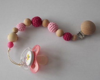 Pacifier clip / pacifier hook and trendy girl wood