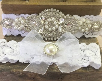 Wedding garter, Bridal garter, rhinestone and pearl garter