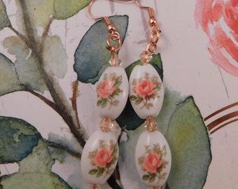 Vintage Inspired Ceramic Earrings