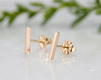 bar stud, 14k gold bar stud, solid gold line stud earring, Rachel Wilder Handmade Jewelry