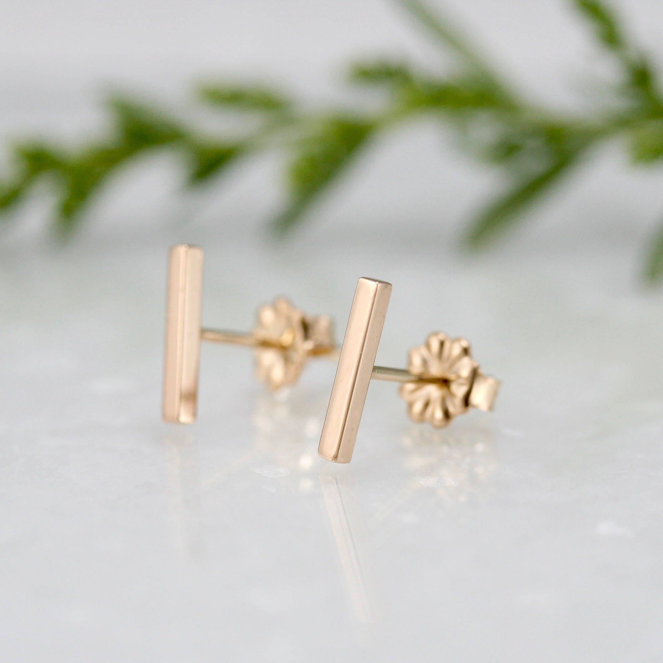 jewellery yellow products bar style silver brass band stud online with hook sterling line rose gold a plated simple detail shop and earring