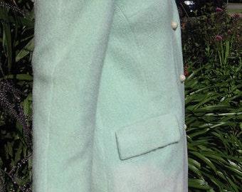 1960s pastel green wool coat -  Sz M