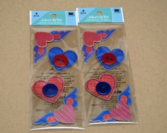 SALE Jolee's By You Stickers -- Hearts with Wings -- 1 Package --  Valentines Day Love Stitched Hearts
