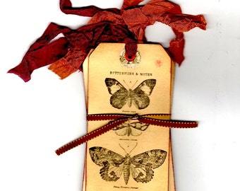 Four Tea Stained Tags, Butterfly Collection, Manilla Tags, Natural History Tags