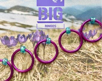 Knitting stitch markers for knitting snag free  ringos big knitting  retro LARGE O-rings, snag free - BLUEBELL SPRING