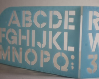 Large alphabet letter number stencil. Capital letters retro office supplies. Made in Japan 1980s stationery. Educational toy for children
