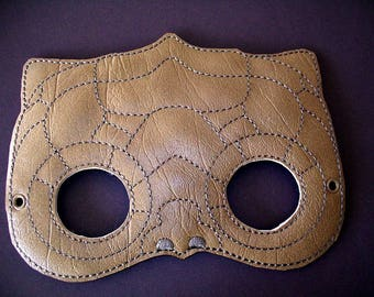 Child's Mask -  Dinosaur - Reptile - choice of colors - Tan Light Brown or Dark Brown