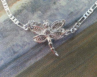 Silver Dragonfly with a cubic zirconia diamond necklace  on a Figaro chain ! And earrings