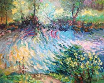 "Fedir Panchuk original oil painting on canvas ""Spring"""
