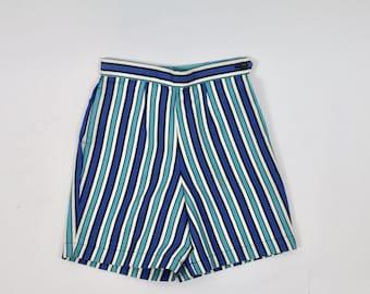 Vintage 1950s Shorts 50s Shorts 1960s Shorts Stripe Shorts High Waist Shorts Blue Turquoise Deadstock XS XXS