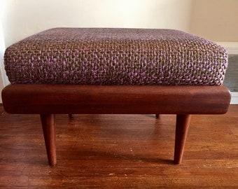 Mid Century Modern Large Danish Teak Ottoman. Mid Century Footstool. Danish Furniture. Vintage Ottoman.
