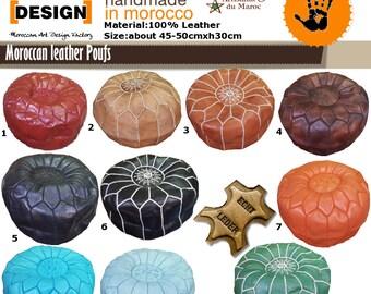 Marokkanische 100% Leder - Handarbeit  Leder Poufs direkt vom Hersteller