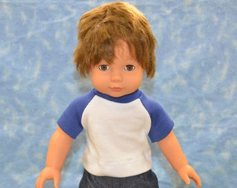 "18"" Boy Doll Clothes - Fits American Doll - Gotz - Blue and White T-Shirt - Handmade"