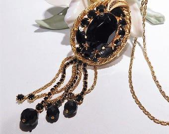 Rhinestone Tassel Necklace / Mid Century Jewelry