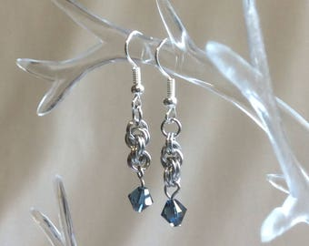 Double Spiral Chain Mail Earrings with Sapphire Swarovski Crystal