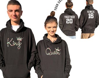 KING QUEEN Floral couple hoodies, personalized Back custom Dates, comes in a pair, Matching hoodie, Anniversary gift Matching