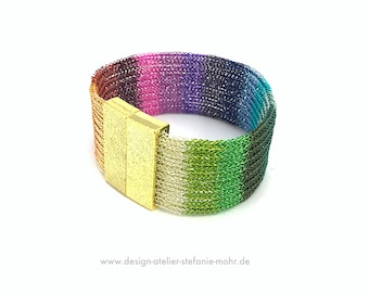 double wire crochet rainbow coloured CUFF BRACELET with magnet clasp