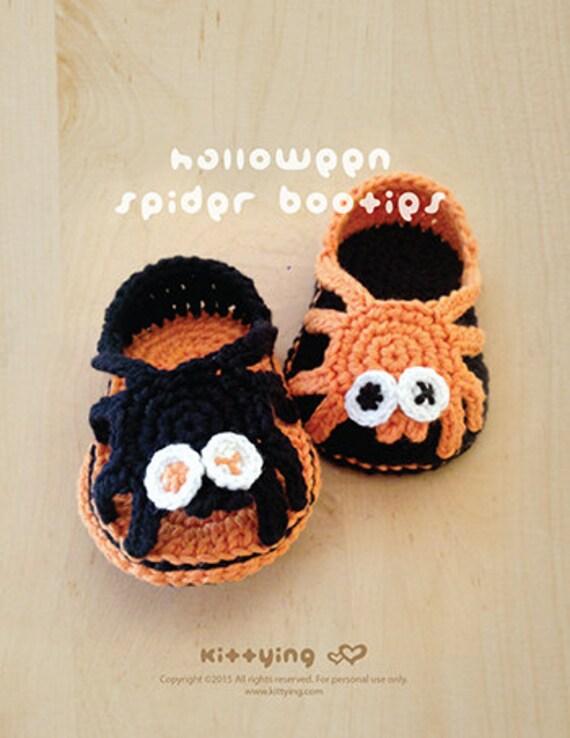 Patrón Halloween ganchillo Araña Despreocupado Sandalias araña