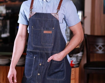 BARISTA Denim Long Apron with Cross-Back Leather Straps | Bartender Apron | Denim Apron | Mens Apron | Womens Aprons - U352C