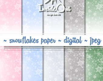 SALE! Winter Scrapbook New Year 's Digital Paper Bokeh Snowflake Paper Soft Pastel Delicate Background Snowflake Scrapbook Scrapbooking