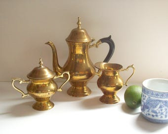Vintage Brass Tea Set, Teapot, Sugar and Creamer, Coffee or Tea Service, Three Piece Set
