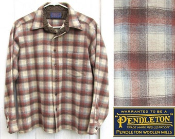 Vintage Pendleton Wool Shirt 1970s LADIES SMALL Brown Plaid Virgin Wool Made in USA