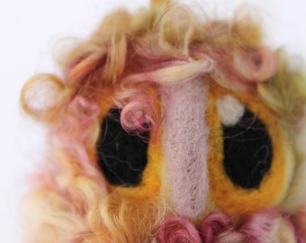Yellow Owl Baby,Raspberry and Lemon Sorbet, Needle Felted Owl, OOAK Owl Baby in Hand Dyed Wensleydale Wool