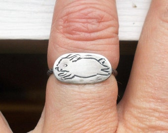 Solid sterling silver bunny rabbit plaque ring
