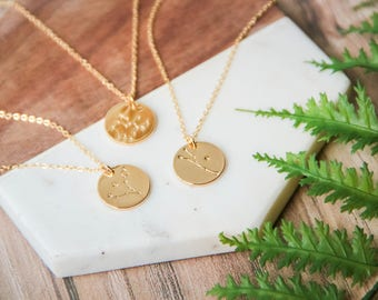 Zodiac Constellation coin pendant necklace   Dainty personalized necklace   Gold layering horoscope circle necklace   Gifts for her under 30