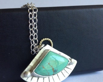 Number 8 Turquoise Fan Necklace - 18K Gold Accent on Sterling Silver Festival Mecklace - Southwestern Jewelry