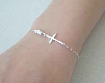 Cross bracelet, Holy trinity, bracelet, Mother of then groom bracelet, Mother of the bride bracelet, Religious gifts