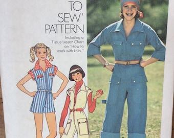 UNCUT Vintage 70's Sewing Pattern Simplicity 7562  Misses' Jumpsuit Bust 32 Size 10 Uncut Complete