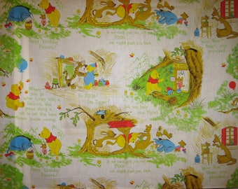 Vintage Pooh Bear and friends fabric ( BTY)