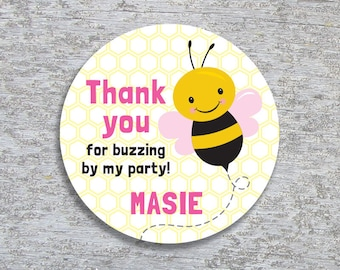 Personalized Bee Party Favor Tags or Stickers – 2, 2.5 or 3 inch Circle – DIY Printable – Pink (Digital File)
