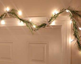 Lighted Beach Grass Garland With StarFish - Beach Decor