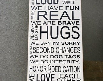 """12x24"""" In This House - Navy Wood Sign - Service - Navy Family - Deployment - Anchor - Fun - Hugs - Brave - Dog Tags - Integrity - Dedication"""