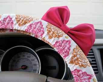 Steering Wheel Cover Bow, Burnished Orange and Rose Quartz Pink Damask Steering Wheel Cover with Hot Pink Bow BF11069