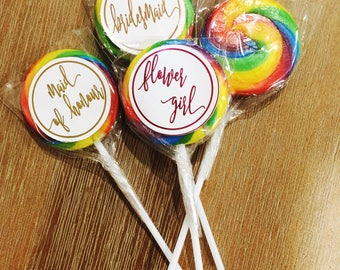 Wedding party personalised in foil swirly lollypops