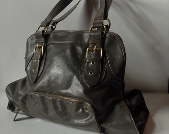 Vintage Braciano Gray Vegan Leather Large Tote
