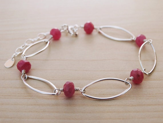Ruby & Silver Link Bracelet - Sterling Silver
