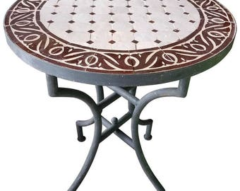 "24"" Brown / White Moroccan Mosaic Table - CR4"