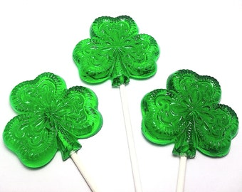 12 LARGE FILIGREE SHAMROCK Lollipops - St Patrick's Day , Irish Wedding