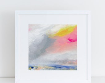Landscape Art Print, Abstract Landscape, Colorful Abstract, Square art, clouds, sky, Lindsay Megahed
