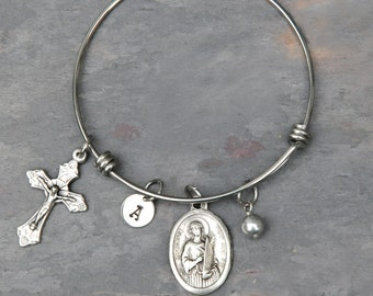 St cecilia etsy saint st cecilia bangle bracelet adjustable stainless steel personalized swarovksi birthstone or pearl aloadofball Image collections