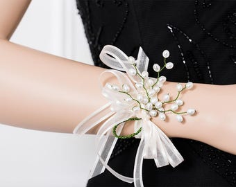 Limited Edition Genuine Freshwater Pearl  Corsage  - Green and White Corsage - Wrist Corsage