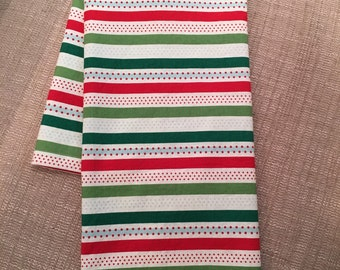 """Holiday Kitchen Tea Towel 100% Cotton -Red White and Green Hand Towel 18"""" X 30"""", Christmas Towel, Hostess Gift, Holiday Gift"""