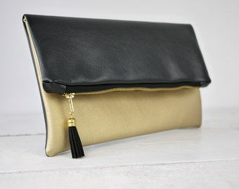 Gold  clutch, gold fold over purse | bridesmaid gold bag