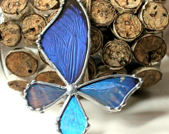 Real Mixed Morpho Butterfly Necklace - Wonky Wings