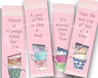 Pink Tea Bookmark, printable Tea Party Favor, Digital Bookmarks, Tea party Gift, Planner Bookmark, Valentine Tea Party, colorful tea cups