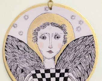 Angel ornament print from my drawing.